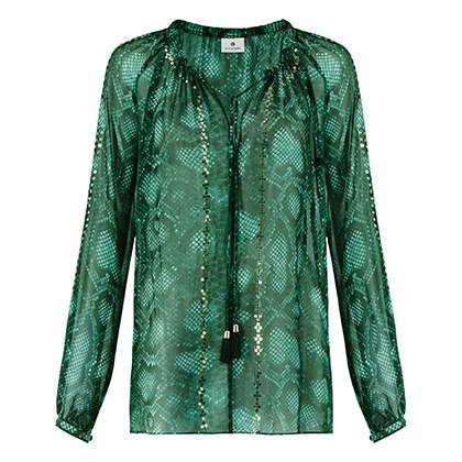 EMBROIDERED PEASANT BLOUSE IN GREEN PYTHON PRINT, $44.99