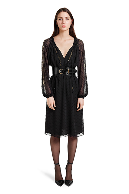 EMBROIDERED ROMANIAN DRESS IN BLACK SWISS DOT, $54.99; CROC EFFECT BELT IN BLACK, $29.99; ANKLE STRAP SHOE IN BLACK, $39.99