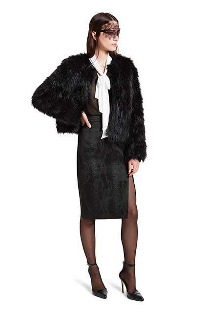 FAUX FUR CROP JACKET IN BLACK, $69.99; BOW BLOUSE IN BLACK WHITE, $29.99; PENCIL SKIRT IN BLACK JACQUARD, $34.99; ANKLE STRAP SHOE IN BLACK, $39.99