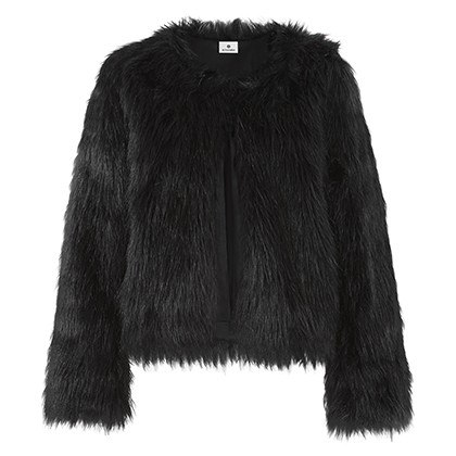 FAUX FUR CROP JACKET IN BLACK, $69.99