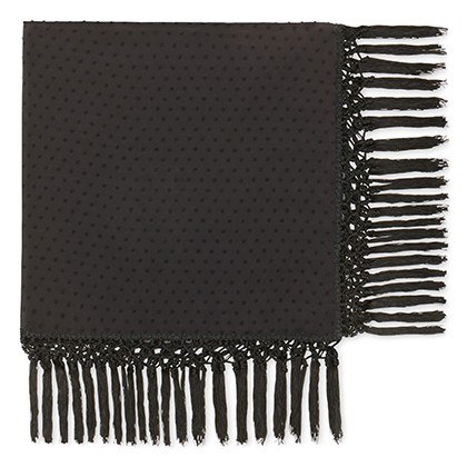 FRINGE SCARF IN BLACK SWISS DOT, $29.99