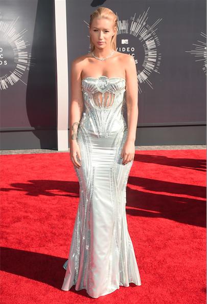 Iggy Azalea in a silver Versace gown