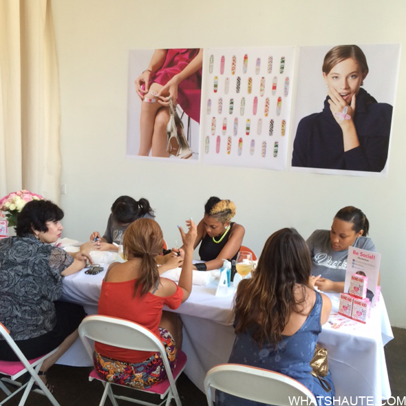 Isaac Mizrahi nail station at Band Aid launch