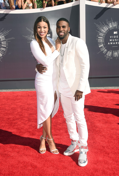Jordin Sparks in a white Simply Intricate dress and Stuart Weitzman Nudist Heels with Jason Derulo