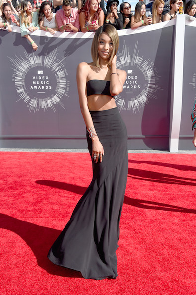 Jourdan Dunn in a Balmain maxi skirt and bra top