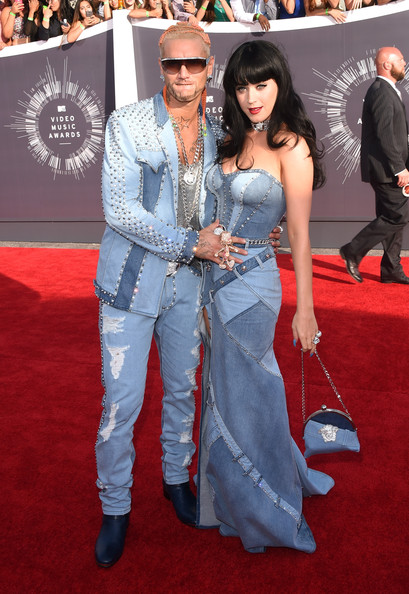 Katy Perry and Riff Raff in Versace denim