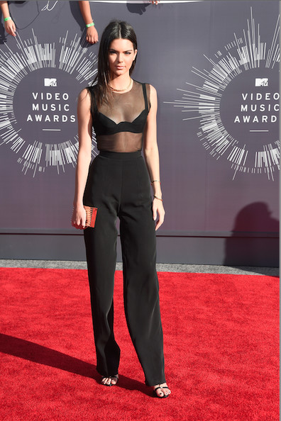Kendall Jenner in Alon Livne mesh top and pants