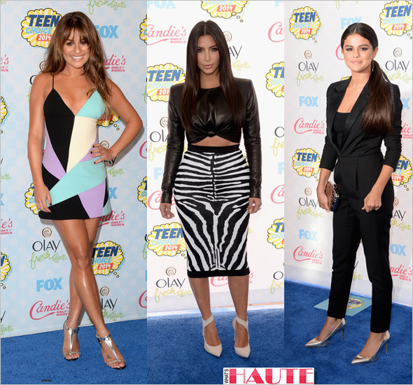 11 celebrity looks that caught our eye this week: Lea Michele Kim Kardashian and Slena Gomez at 2014 Teen Choice Awards