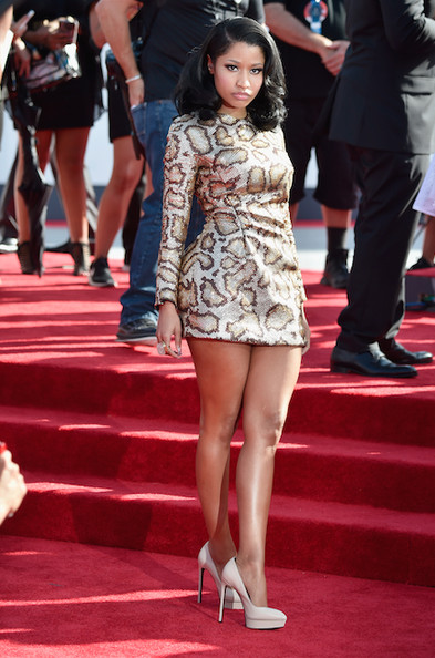 Nicki Minaj leopard print mini dress VMAs