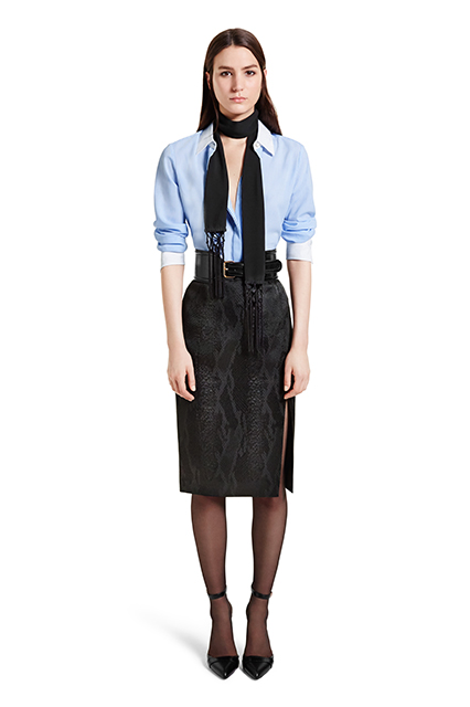 OXFORD SHIRT IN BANKER STRIPE, $29.99; PENCIL SKIRT IN BLACK JACQUARD, $34.99; CROC EFFECT BELT IN BLACK, $29.99; ANKLE STRAP SHOE IN BLACK, $39.99