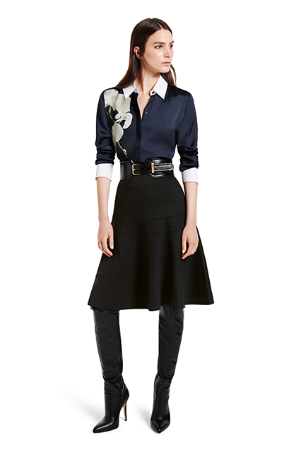 OXFORD SHIRT IN NAVY ORCHID PRINT, $34.99; FLOUNCE SKIRT IN BLACK, $34.99; CROC EFFECT BELT IN BLACK, $29.99; OVER-THE-KNEE BOOT IN BLACK, $79.99