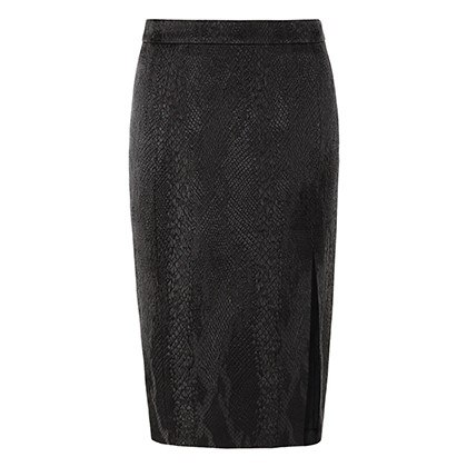 PENCIL SKIRT IN BLACK JACQUARD, $34.99
