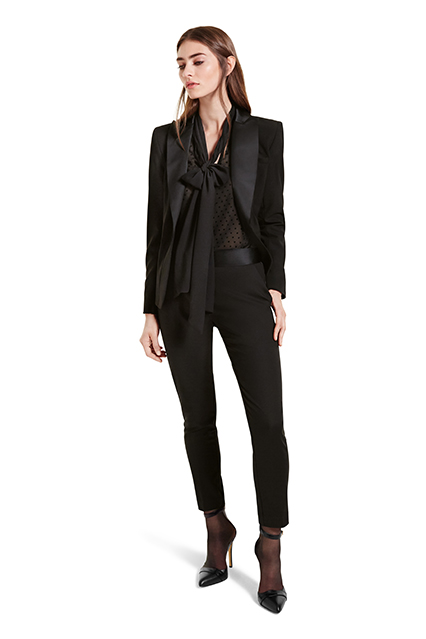 PEPLUM BLAZER IN BLACK, $54.99; BOW BLOUSE IN BLACK SWISS DOT, $34.99; TUXEDO ANKLE PANT IN BLACK, $34.99; ANKLE STRAP SHOE IN BLACK, $39.99