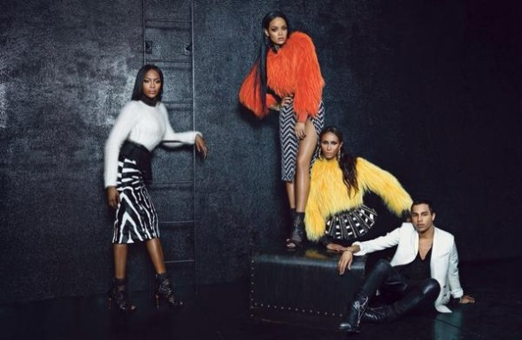 Rihanna, Naomi Campbell, Iman and Olivier Rousteing in Balmain for W Magazine