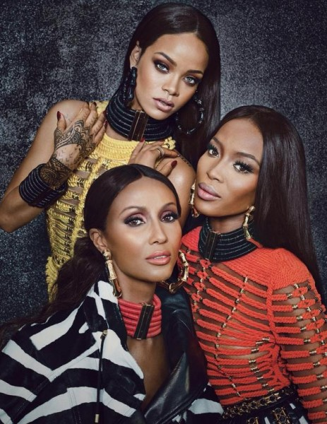 Rihanna, Naomi Campbell and Iman in Balmain for W Magazine