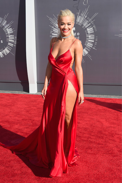 Rita Ora in a red silk charmeuse Donna Karan Atelier dress