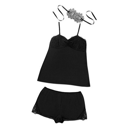 SATIN CAMI SET IN BLACK, $34.99
