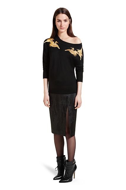 SWEATER WITH CRANE EMBROIDERY, $49.99; PENCIL SKIRT IN BLACK JACQUARD, $34.99; ANKLE BOOT IN BLACK, $59.99