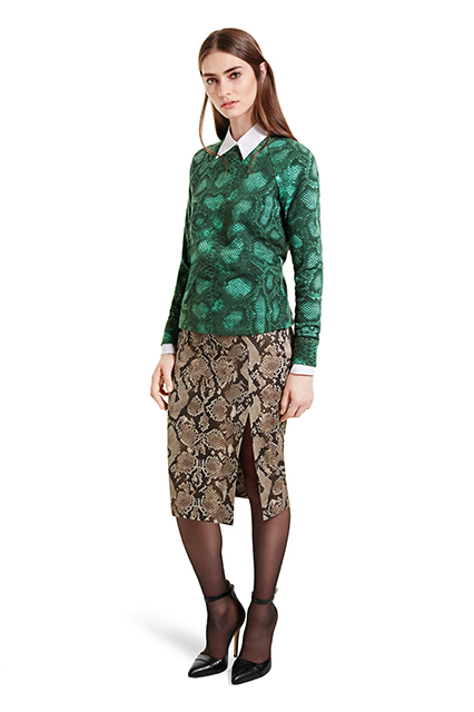 SWEATSHIRT IN GREEN PYTHON PRINT, $29.99; OXFORD SHIRT IN BANKER STRIPE, $29.99; PENCIL SKIRT IN PYTHON PRINT, $34.99; ANKLE STRAP SHOE IN BLACK, $39.99
