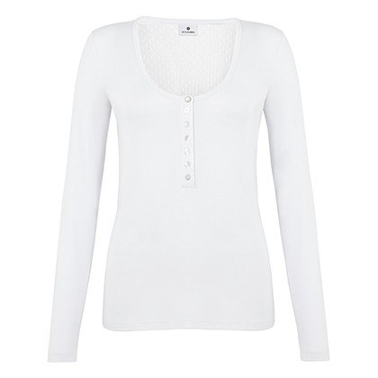 SWISS DOT HENLEY IN WHITE, $24.99