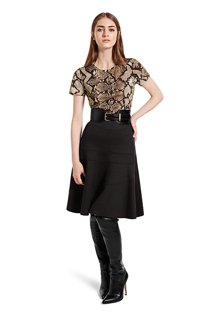 TEE SHIRT IN PYTHON PRINT, $17.99; FLOUNCE SKIRT IN BLACK, $34.99; CROC EFFECT BELT IN BLACK, $29.99; OVER-THE-KNEE BOOT IN BLACK, $79.99