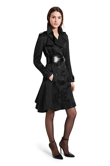 TRENCH COAT IN BLACK JACQUARD, $89.99; CROC EFFECT BELT IN BLACK, $29.99; ANKLE STRAP SHOE IN BLACK, $39.99