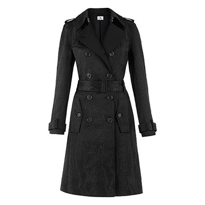 TRENCH COAT IN BLACK JACQUARD, $89.99