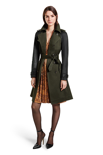 TRENCH COAT IN MILITARY GREEN BLACK, $89.99; WRAP DRESS IN PYTHON, $44.99; ANKLE STRAP SHOE IN BLACK, $39.99