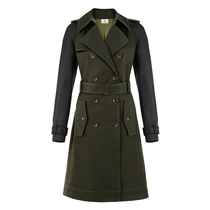 TRENCH COAT IN MILITARY GREEN BLACK, $89.99