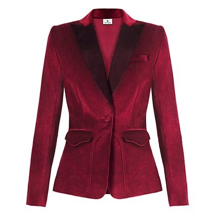 VELVET BLAZER IN RUBY RED, $59.99