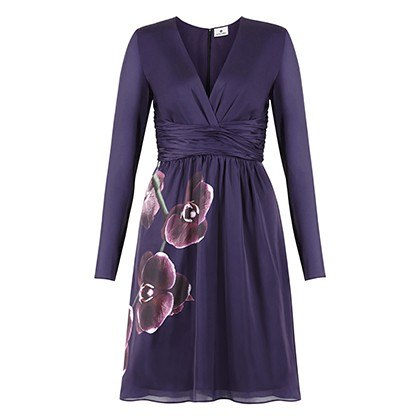 WRAP DRESS IN PURPLE ORCHID PRINT, $49.99