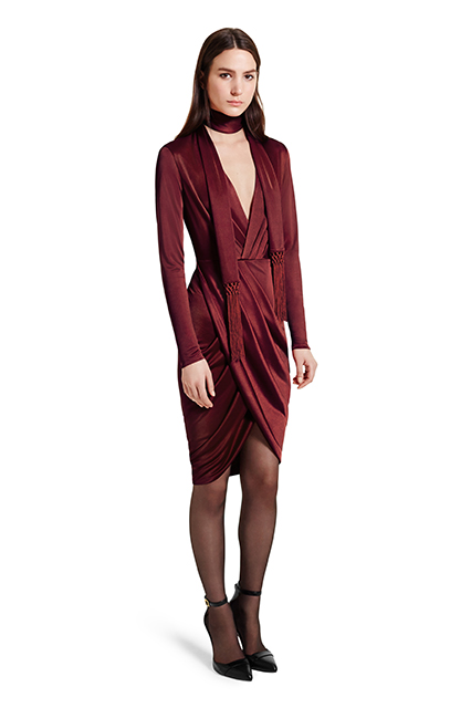 WRAP DRESS IN RED, $39.99; ANKLE STRAP SHOE IN BLACK, $39.99