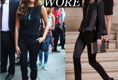 What she Wore: Nina Dobrev in Elie Saab paneled swing jacket in black with gold zipper detailing, black sleeveless top and black fitted trousers from the Pre-Fall 2014 Ready-to-Wear Collection