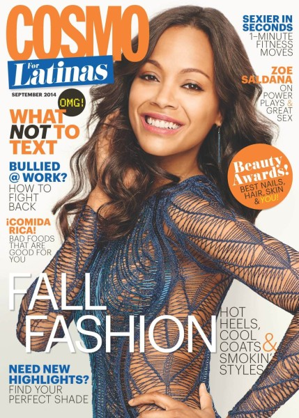 Zoe Saldana on the September 2014 cover of Cosmo for Latinas