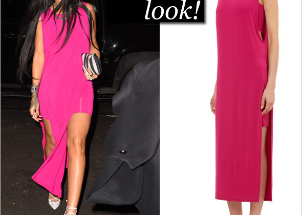 Rihanna pops in hot pink Helmut Lang! Rihanna in hot pink Helmut Lang, Balmain Black & White Striped Leather Medallion Bifold Clutch and Christian Louboutin Impera Lace-Up pumps