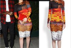 Haute or not: Iggy Azaela in Givenchy Mosaic-Print Sheath Dress and YSL clutch