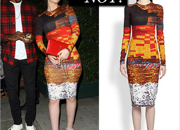 Haute or not: Iggy Azaela in Givenchy Mosaic-Print Sheath Dress and YSL clutch