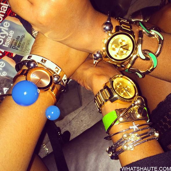 Blogger arm candy at the Lucky Magazine Movado Bold Arm Candy Party