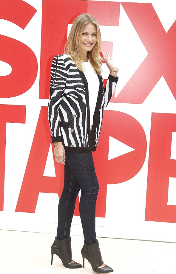 Haute or Not: Cameron Diaz in Balmain Zebra-patterned jacquard-knit cardigan