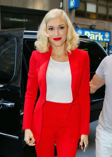 Gwen Stefani in a red suit: get the look, L'Oreal Infallible Le Rouge Lipstick, Christian Louboutin Pigalle 100 camouflage-print metallic suede pumps, Zara Cropped trousers, Zara Single button blazer, Target Junior's Long & Lean Tank