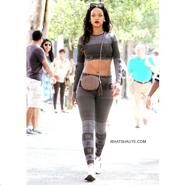 Rihanna Gives Us a Sneak Peek at Alexander Wang for H&M; Gucci Soho Nubuck Leather Mini Chain Bag and New Balance sneakers