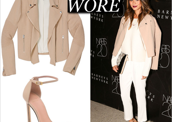 What She Wore: Jamie Chung in Aritzia and Stuart Weitzman Nudist Sandals