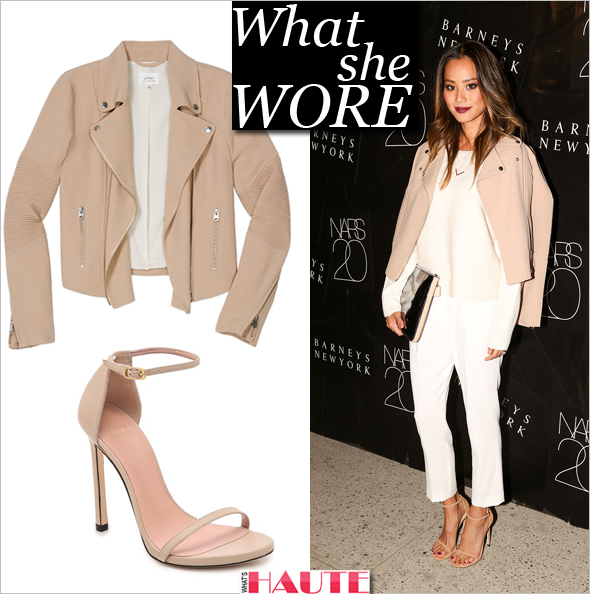 Copy Jamie Chung's Blush-Colored Look; What She Wore: Jamie Chung in Aritzia and Stuart Weitzman Nudist Sandals