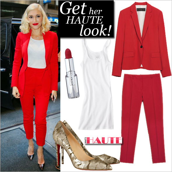 Get Gwen Stefani's red haute look, Red suit, Get the look, L'Oreal Infallible Le Rouge Lipstick, Christian Louboutin Pigalle 100 camouflage-print metallic suede pumps, Zara Cropped trousers, Zara Single button blazer, Target Junior's Long & Lean Tank