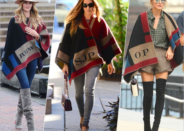 Sarah Jessica Parker, Rosie Huntington-Whiteley and Olivia Palermo in Burberry Prorsum Check Blanket Poncho