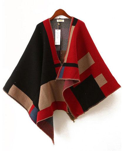 SheInside Red and Black Asymmetric Wool Blend Cape