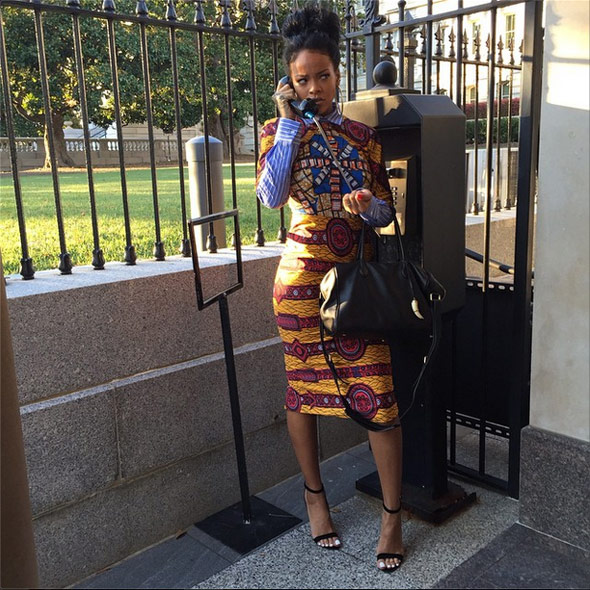 Rihanna in Stella Jean and Manolo Blahnik and Balmain at the White House