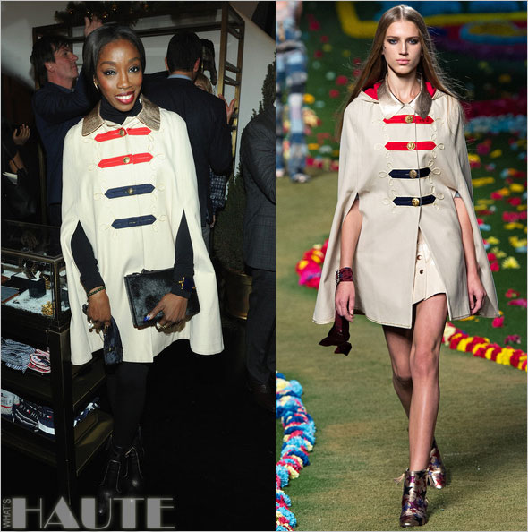 Estelle in a military-style Tommy Hilfiger Spring 2015 cape poncho at the Tommy Hilfiger and GQ event honoring The Men Of New York