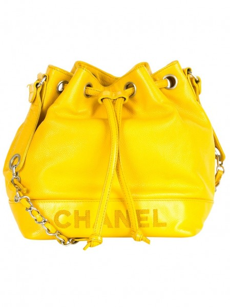 Chanel Vintage Leather Logo Bucket Bag
