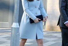 Kate Middleton in pastel blue Seraphine coat